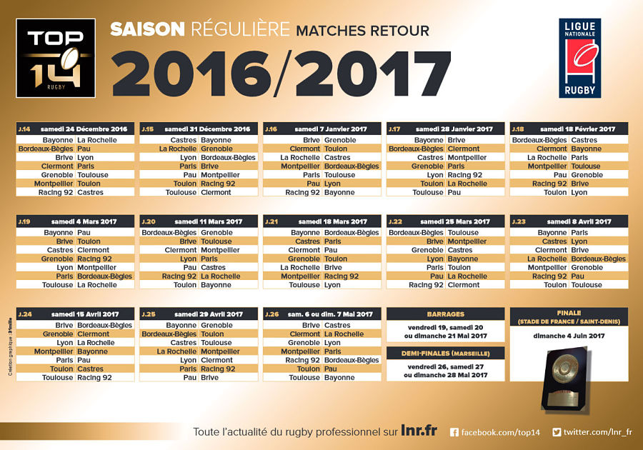 Calendrier rencontre top 14 2017