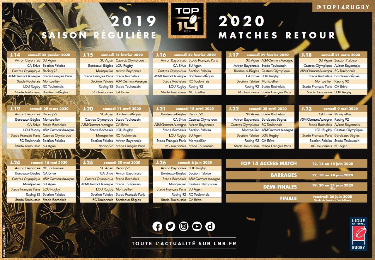 Calendrier Rugby Top 14 2020.Le Calendrier Du Top 14 Pour La Saison 2019 2020 Est Sorti